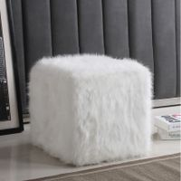 Silver Orchid Kelly Square White Faux Fur Poof - White
