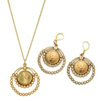 Goldtone Angel Coin Crystal Earrings and Pendant Boxed Gift Set - Gold Tone Coin and Crystal Jewelry Set