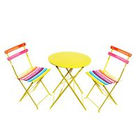 Alpine Corporation MSY114A Rainbow Metal Bistro Set w/Table and Two Chairs, 28 Inch Tall, Multi-Color
