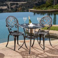 Angeles Cast Aluminum Outdoor Bistro Furniture Set with Ice Bucket by Christopher Knight Home - Angeles Cast Aluminum Outdoor Bistro Furniture Set