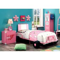 Furniture of America Jessie Metal 2-piece Racing Twin Bed and Nightstand Set - Pink