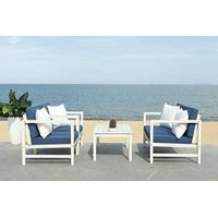 Safavieh PAT7030D Collection Montez White and Navy 4 Pc Accent Pillows Outdoor Set