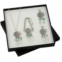 American Coin Treasures Buffalo Nickel Dreamcatcher Necklace, Bracelet, and Earrings Boxed Gift Set - Buffalo Nickel Dreamcatcher Gift Set