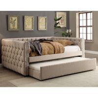 Furniture of America Bailey Contemporary 2-piece Tufted Nailhead Ivory Linen-like Daybed and Trundle Set - Full