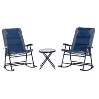 Outsunny 3 Piece Folding Outdoor Rocking Chair and Table Set - Blue and Grey