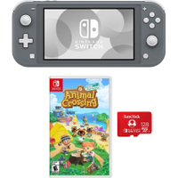 Nintendo - Switch 32GB Lite - Gray - Animal Crossing: New Horizons + 128GB UHS-I microSDXC Memory Card Included