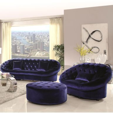 Rent To Own Xnron Cradle Design Royal Blue Velvet Tufted Living Room  Collection   1 Sectional   FlexShopper Part 82