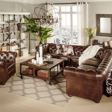 To Own Knightsbridge Tufted Scroll Arm Chesterfield 7 Seat L Shaped Sectional By Inspire Q Brown Bonded Leather Flexper